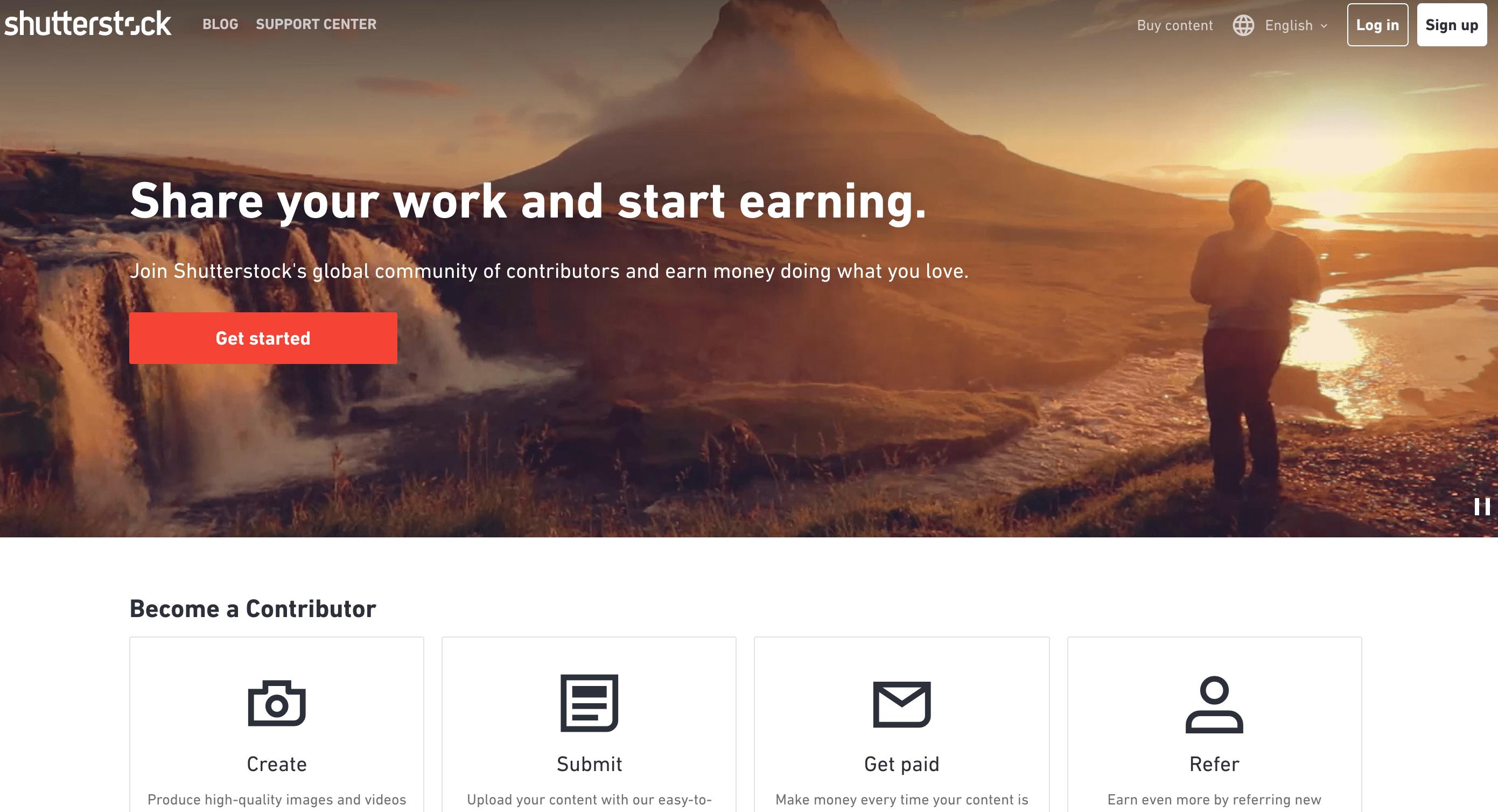 shutterstock earn money for selling content