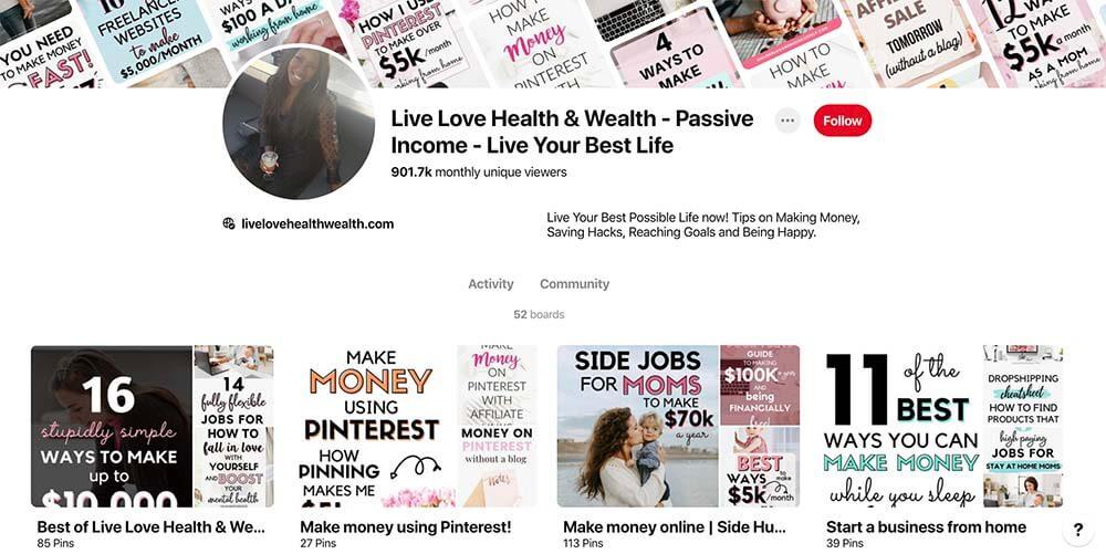 Pinterest Profile make money with pinterest